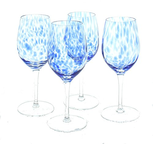 (Blue Rose Polish Pottery Cobalt Confetti Wine Glass Set)