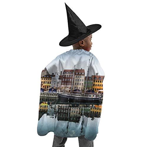 YUIOP Deluxe Halloween Children Costume Sunset Copenhagen Denmark Wizard Witch Cloak Cape Robe and Hat Set