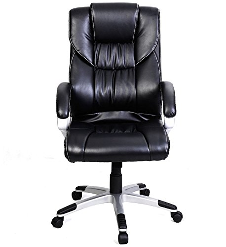 [PU Leather Executive Office Chair Big And Tall High Back Task Ergonomic for Computer Desk 360 Degree Swivel Wheel Comfortable Arm Rests] (Austin Floor Mat)
