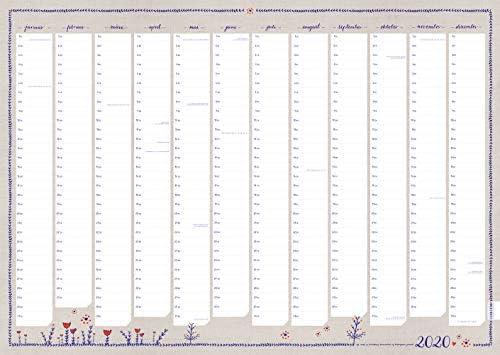 A1 Wandkalender 2020 quer, gefaltet - Jahresplaner, Familienkalender und Kalender inkl. Feiertage, Recylingpapier Qualitätsdruck im Retro Blumen Design beige, Din A1, 84,0 x 59,4 cm, klimaneutral