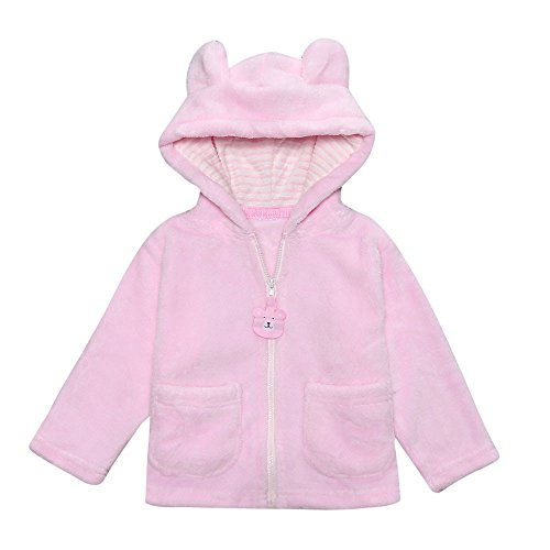 Kehen Toddler Unisex Baby Cartoon Ear Flannel Blouse Zipper Hooded Solid Warm Cotton Coat (12/18M, (Pink Solid Cotton Flannel)