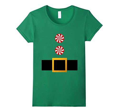 Cute Female Elf Costumes (Womens Peppermint Candy Cane Button Santa Elf Costume Suit T Shirt Small Kelly Green)