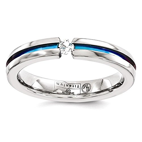 Multi Colored Sapphire Band (Solid Edward Mirell Titanium White Sapphire Multicolored Anodized 4mm Band)