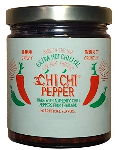 Chi Chi Pepper - Extra Spicy Hot Premium Chili Crisp Sauce with Olive Oil and Bird's Eye Chili (6 OZ) Vegan Friendly Made in USA