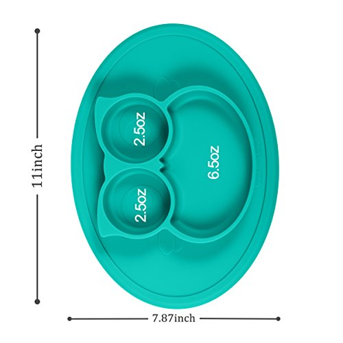 Silicone Mini Placemat - Baby Plate - Toddler Feeding Mat by Hanfeng- Strong Suction Base - Portable - 100% Food Grade Silicone - Fits Most highchairs, Microwave and Dishwasher Safe (Green) by Hanfeng (Image #5)