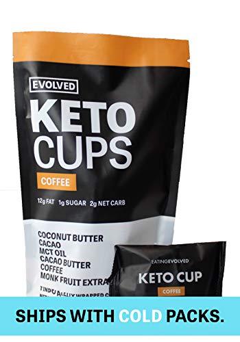 Evolved Chocolate - Keto Cups, Coffee - Keto Friendly, 13g Fat, 1g Sugar, 2g Net Carbs, MCT Oil, Vegan Friendly, Paleo Friendly, Gluten Free, 7 cups per pouch - 5.18 oz (1 pouch)