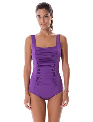 SYROKAN Women's Pleated Maillot Endurance Athletic Training One Piece Swimsuit Dark Purple 42 inch