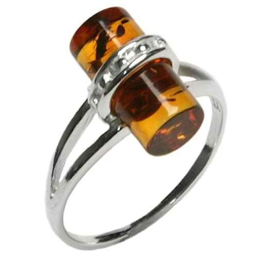 Honey Amber Sterling Silver Small Tiny Barrel Ring, Sizes 5,6,7,8,9,10,11,12