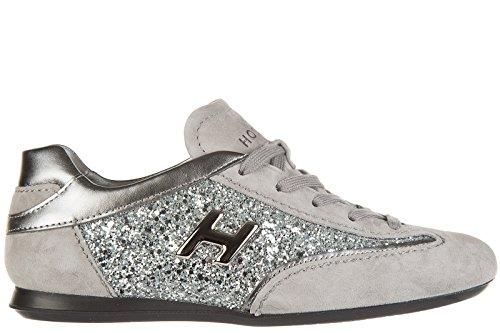 Hogan Damenschuhe Wildleder Sneaker Wildlederschuhe olympia h Metall Grau