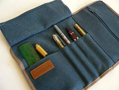 aseismanos estuche enrollable/portálápices, 4 compartimentos para rotuladores y bolígrafos, 1 compartimento para pequeños utensilios de escritorio, compartimento para libreta. Color azul: Amazon.es: Handmade