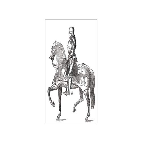 3D Decorative Film Privacy Window Film No Glue,Medieval,Retro Vintage Stylized Illustration of Middle Age Renaissance Knight on The Horse,Grey White,for Home&Office