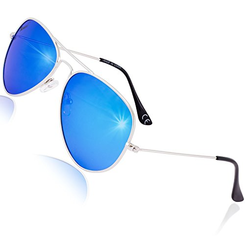 Rivacci Men Women Aviator Silver Frame / Blue Mirror Lens Classic Retro Polarized - Tribes Sunglasses Mosley Aviator