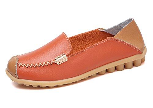 VenusCelia Women's Comfort Walking on Air Flat Loafer(6.5 M US,Orange)