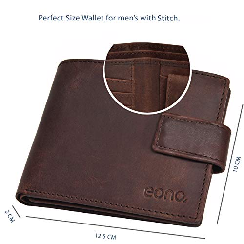 Eono by Amazon RFID Leather Wallets-Slim Purse with Zipper Coin Pocket for Men
