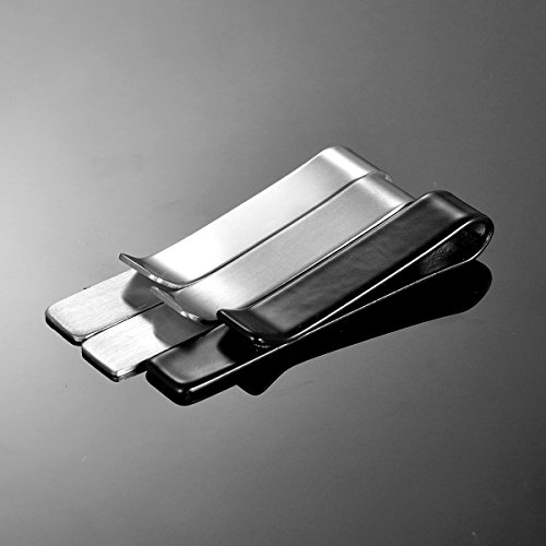 HooAMI Mens Fashion Smooth Stainless Steel Simple Necktie Tie Bar Clip,Silver by HooAMI (Image #3)