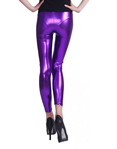 HDE Leggings Metallic Stretch Clubwear