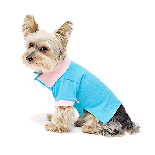Polo Dog Collars - Stinky G Streth Polo Shirt Contrast Color Collar Cotton Candy Blue Size #08