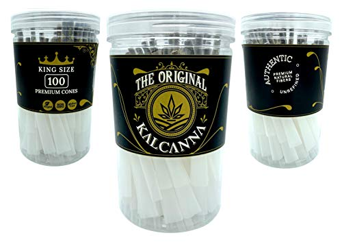 Kalcanna Premium King Size Cones | 100 Pack | Natural Pre Rolled Rolling Paper with Tips & Packing Sticks Included