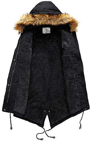 Invierno Negro WenVen de Chaqueta Cruzado Mujer Algodón de de de Cuello Sarga Ligera para wgpvxwfq