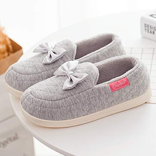 Pantoufle Printemps 36 Hiver Gray Td 35 couleur Le Coton En Mou Sac L'automne Avec Fond Printemps Femelle Imperméables De Taille Pantoufles Gray Mois xxqOt