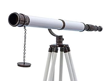 Buy floor standing chrome white leather galileo telescope inch