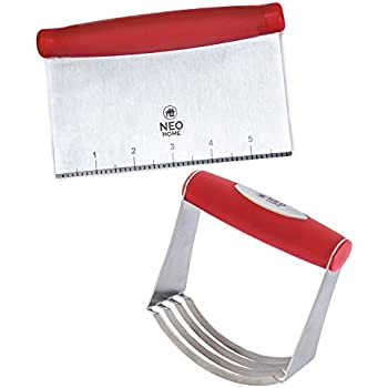 Neo Home 2 Piece Set Stainless Steel Pastry Blender with Dough Mixer and Bench Scraper - Red