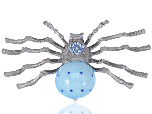 Alilang Extra Large Blue Bodied Vintage Inspired Daddy Long Leg Spider Fashion Pin Brooch