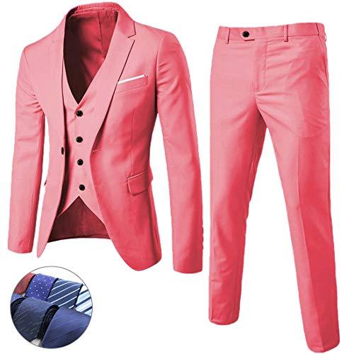 (MY'S Men's 3 Piece Suit Blazer Slim Fit One Button Notch Lapel Dress Business Wedding Party Jacket Vest Pants & Tie Set Pink)