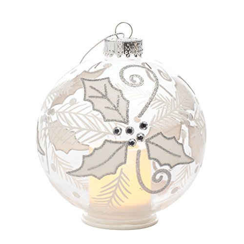 Sterno Home CG10172RDTR6 Glass Ornament Glitter Poinsettia Wrap with Light & 5 Hour Timer, CR2450 Battery Included Candle Impressions 4 5, 4-inch