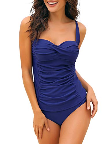 Utyful Womens Royal Blue Ruched Twist Front Solid Two-Piece Tankini Set Swimsuit with Brief -
