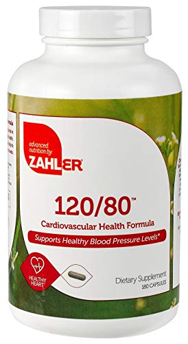 Zahler 120 80, Advanced Blood Pressure Support Supplement, Contains Hawthorn Berry and much more for Hypertension and Cardiovascular Control, Certified Kosher, 180 Capsules