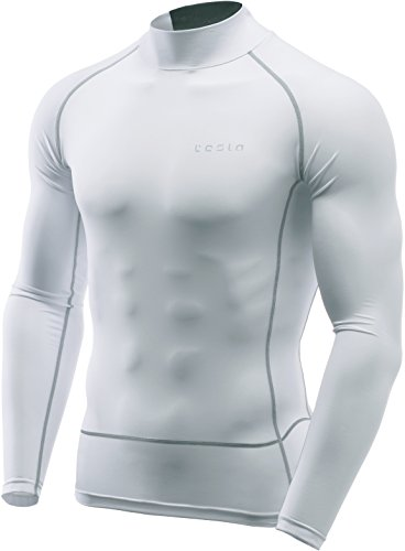 TM-MUT72-WTL_Large Tesla Men's Mesh-Back Panel Mock Long-Sleeved T-Shirt Compression Baselayer MUT72