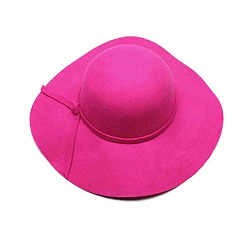 [YIWULA Women Wool Wide Brim Felt Bowler Fedora Hat (Hot Pink)] (Hip Hop Felt Hat With Feather)