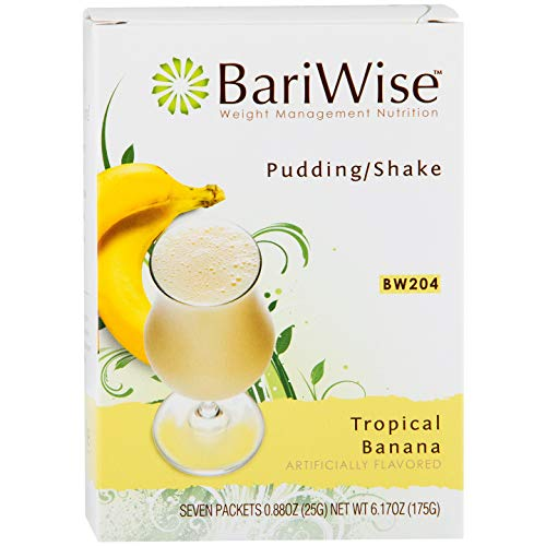 BariWise High Protein Shake / Low-Carb Diet Pudding & Shake Mix - Tropical Banana (7 Servings/Box) - Gluten Free, Fat Free, Low Carb