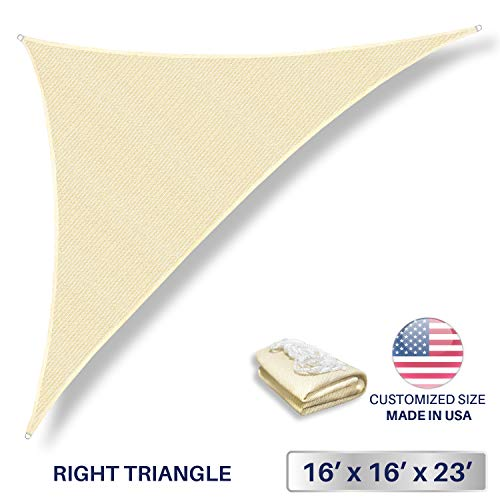 Windscreen4less 16' x 16' x 22.6' Triangle Sun Shade Sail - Beige with White Strips Durable UV Shelter Canopy for Patio Outdoor Backyard - Custom (3 Year Warranty)