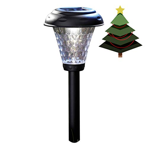 Moonrays 91381 Payton Solar LED Plastic Path Light, 2X-Brighter, Hammered Glass Look, provides 360 Display of Warm LED Lighting, Emits 2.4-lumens, 12-inch area of illumination, 8-Pack
