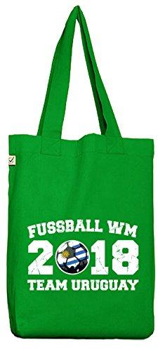 ShirtStreet Wappen Fußball WM Fanfest Gruppen Bio Baumwoll Jutebeutel Stoffbeutel Team Uruguay Kelly Green