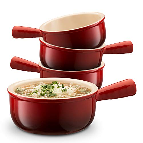 KooK Ceramic French Onion Soup Bowls With Handles, 12 Ounce - Set of 4 2 French Onion Soup Bowls