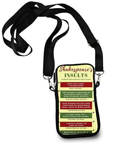 Unisex Small Crossbody Bag Cell Phone Purse Wallet Headphone Bag Shakespeare