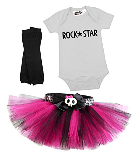 Costume Rock Baby (My Baby Rocks Punk Princess Hot Pink & Black 3 Piece Tutu Costume Set 12)
