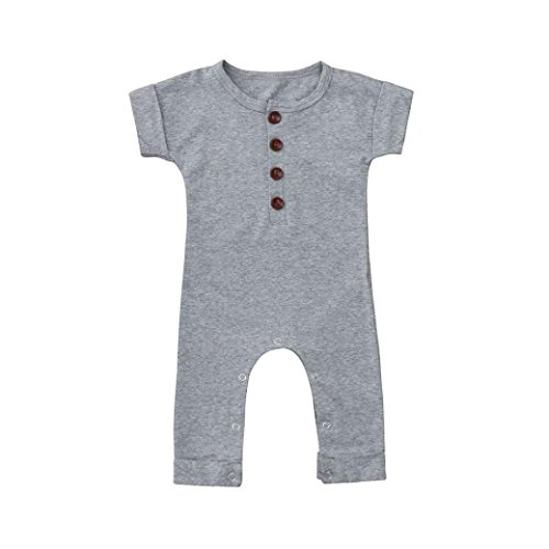 - LNGRY Baby Clothes,Toddler Baby Boys Girls Solid Color Short Sleeve Romper Jumpsuit Bodysuit Outfits (6-12 Months, Gray)