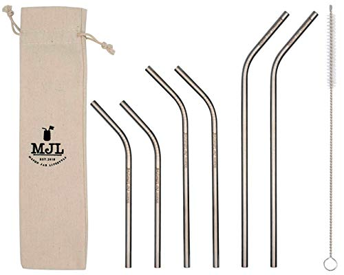 Combo Pack Thin Bent Stainless Steel Straws for Mason Jars (6 Pack + Cleaning Brush + Cloth -