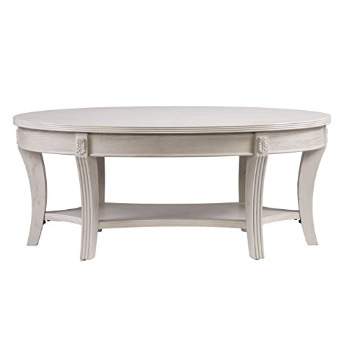 """Furniture HotSpot - Oval Coffee Table – Whitewash - 44"""" W x 26"""" D x 18.25"""" H"""
