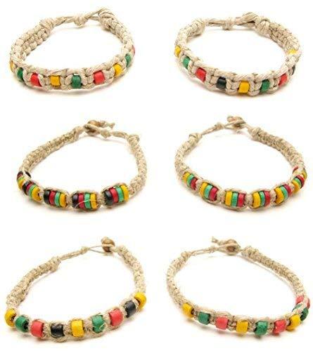 Frogsac Rasta Beaded Hemp Braid Bracelets - Adjustable Unisex 6 Pcs Great Party Favors by Frogsac