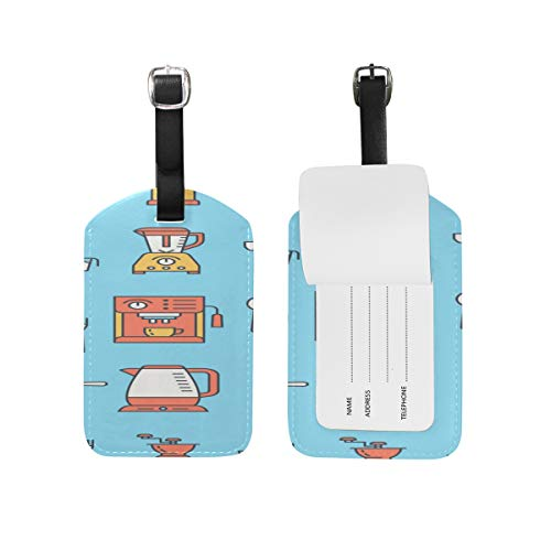 Fashion Pu Leather Tags Coffee Machine Tool Hand Drawn Double-sided Printing Id Labels Luggage Tag Business Card Suitcase Tag