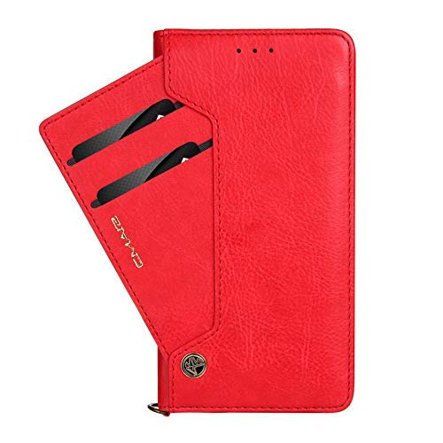 Galaxy S8 Book Cover, TechCode Dual Layer Design Premium PU Leather Flip Case Vintage Fashion Smart Stand Cover Lightweight Wallet Sleeve with Credit Card Slots for Samsung Galaxy S8 5.8 inch(Red)