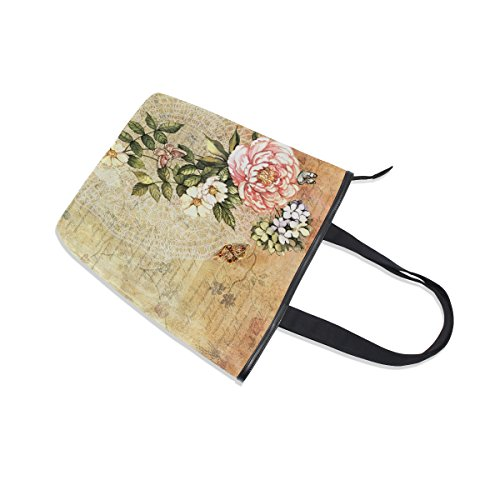 Retro Floral Flower Tote Bag Canvas Watercolor Shoulder Womens MyDaily Handbag 0w74qIx60