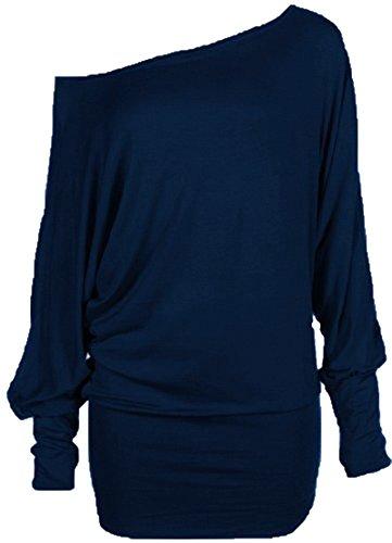 Damen plus Größe ab Schulter Baggy Langarm Fledermaus lumpen Kleid top (36/38, Navy)