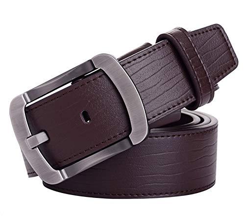 Business Belt Cowhide leather belt for men Brand Metal buckle Black Coffee Men Belt for Jeans,coffee,120cm ()