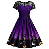 Womens Tops Clearance WEUIE Women Short Sleeve Halloween Retro Lace Vintage Dress A Line Pumpkin Swing Dress (3XL, Purple)